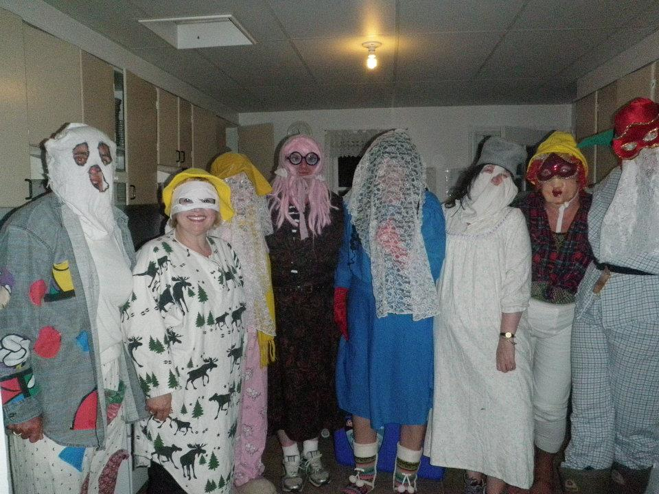 Mummers gathering in the kitchen