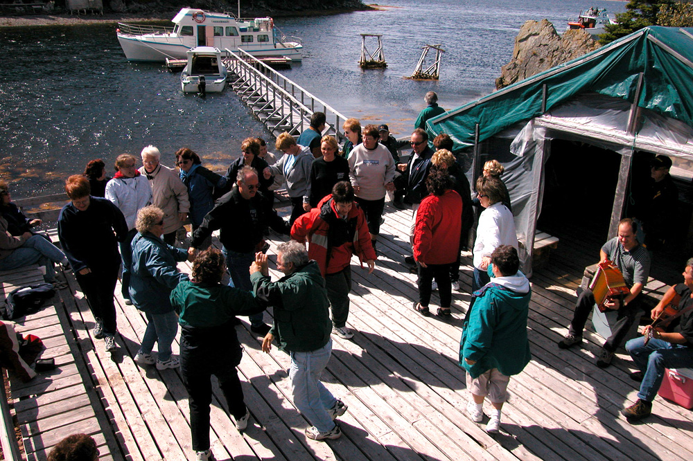 Having a dance while enjoying some Newfoundland music during a stopover on Sound Island